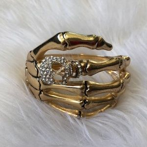 Jewelry - Rhinestone Skull Bracelet (hinges open)